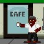 Coffee Shop Hipster in Fist Puncher